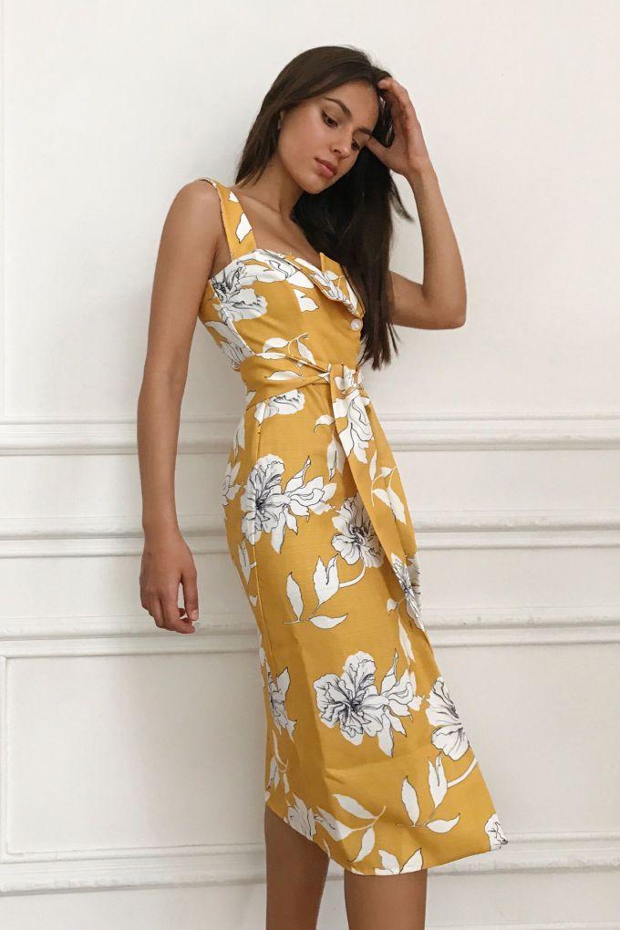 Сарафан из льна желтый Sunny Flowers - THE LACE