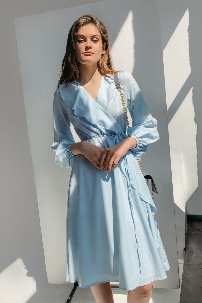 Платье миди с воланами голубое - THE LACE