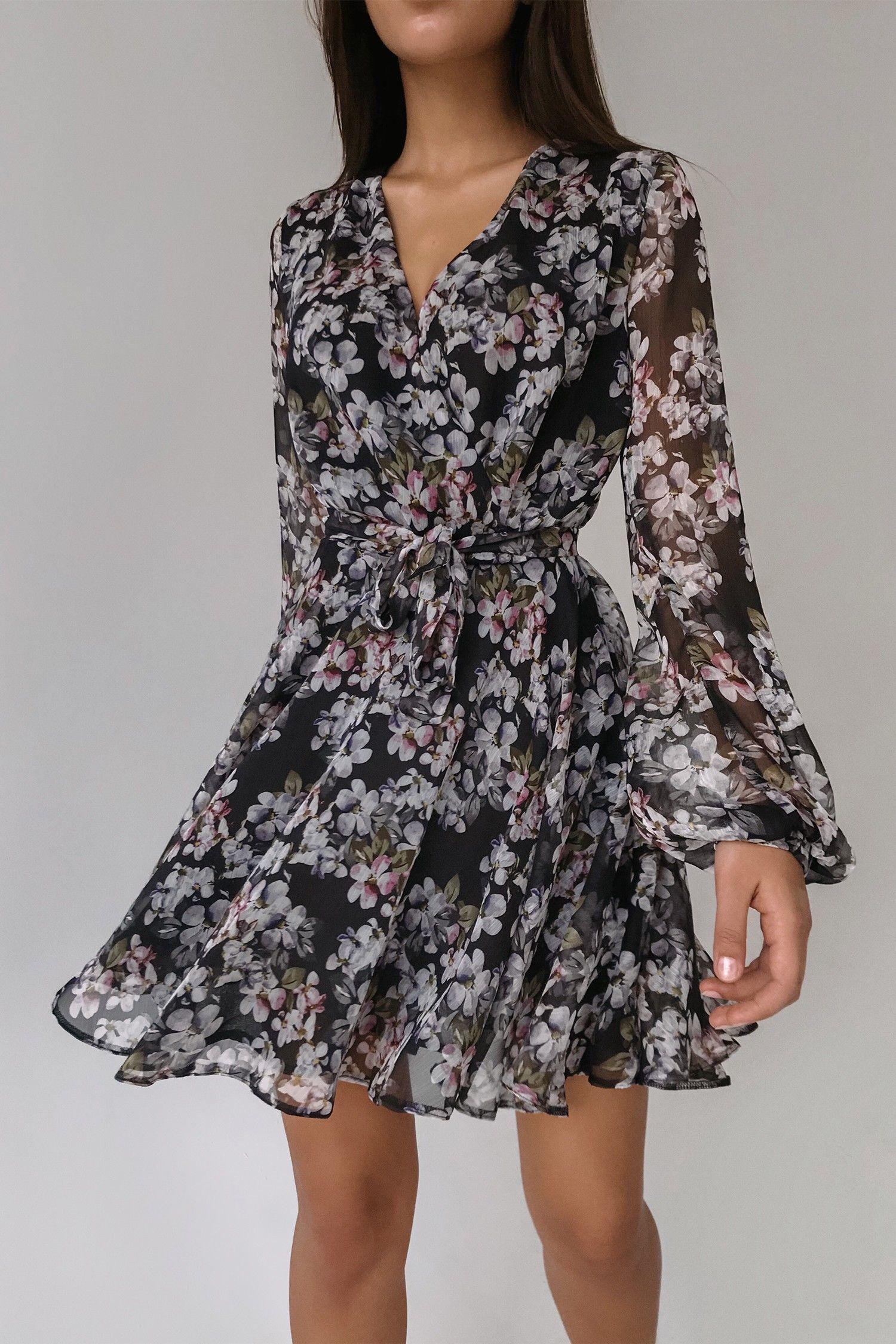 Платье мини чёрное Summer bloom - THE LACE