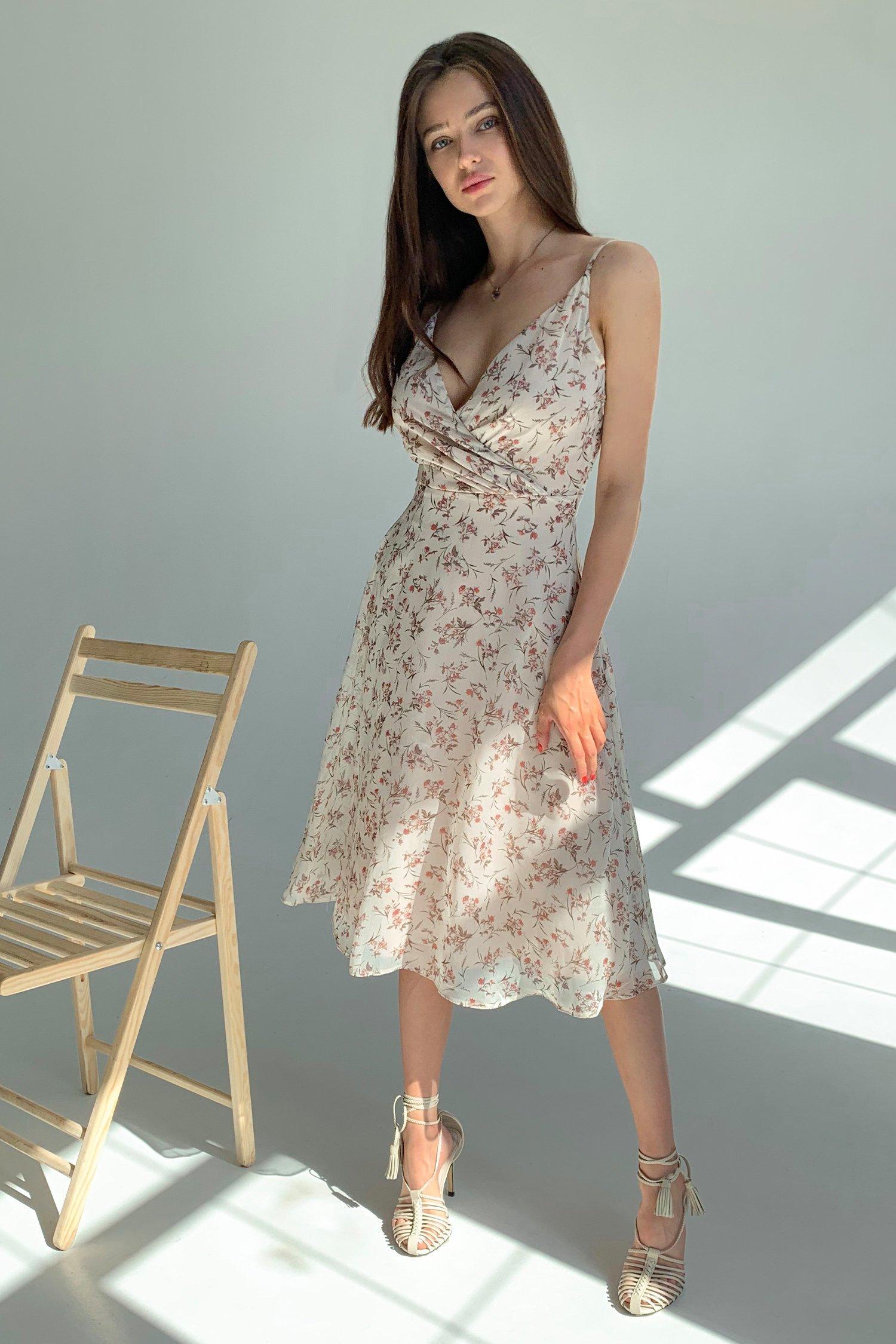 Платье на тонких бретелях бежевое Sensual flowers - THE LACE