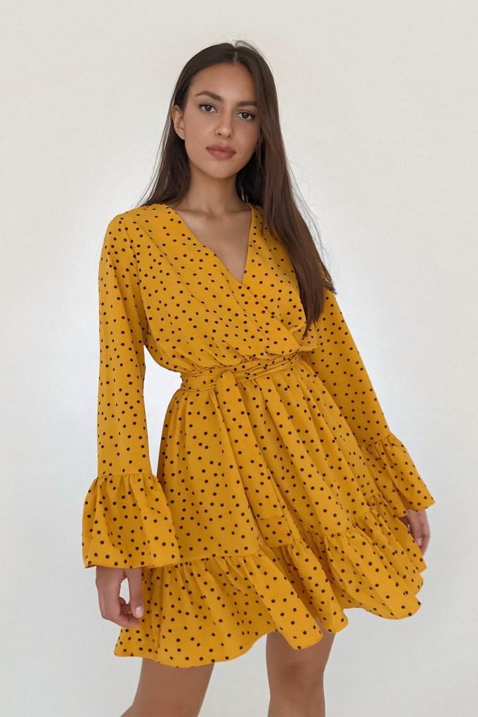 Платье мини с воланами в горох жёлтое - THE LACE