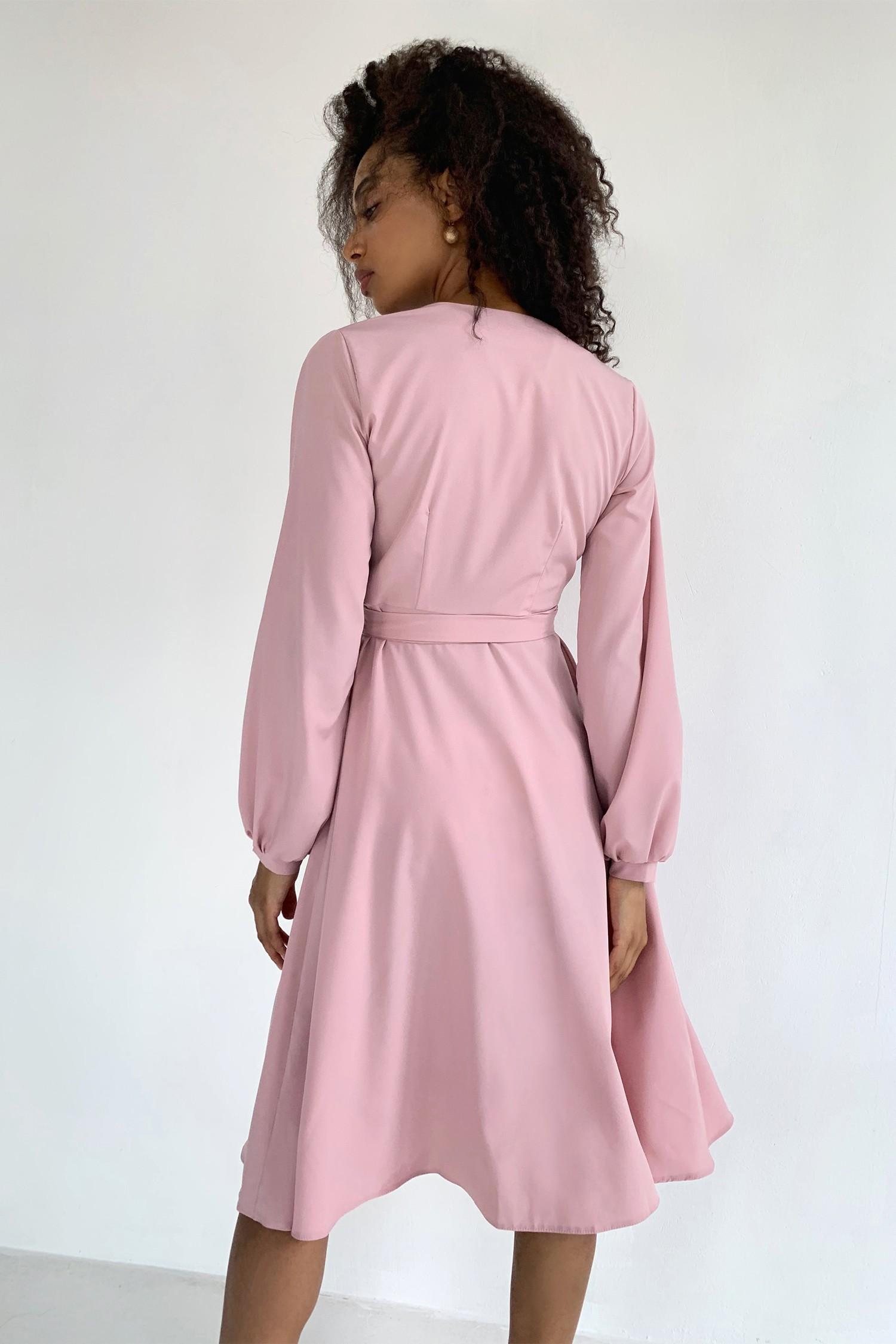 Платье миди на запах пудровое - THE LACE