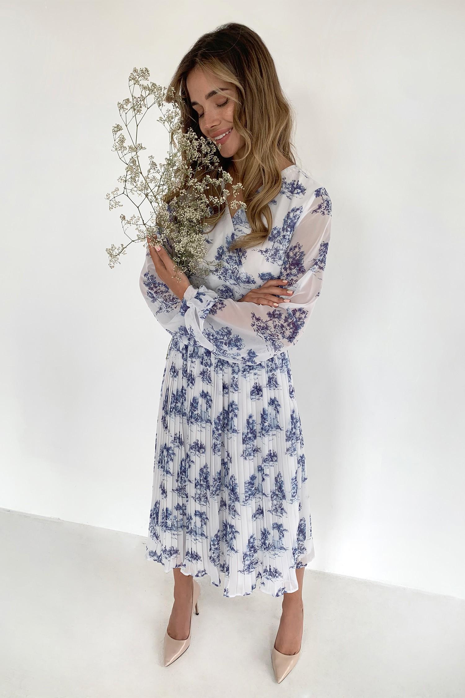 Платье миди на запах с юбкой плиссе Toile de Jouy - THE LACE