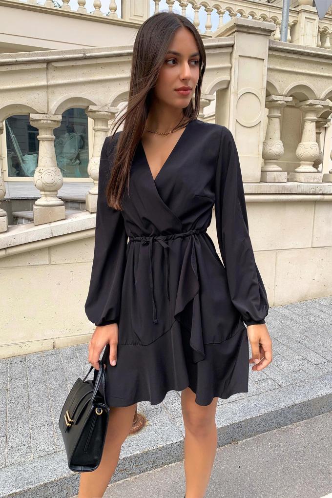 Платье мини с воланами черное - THE LACE