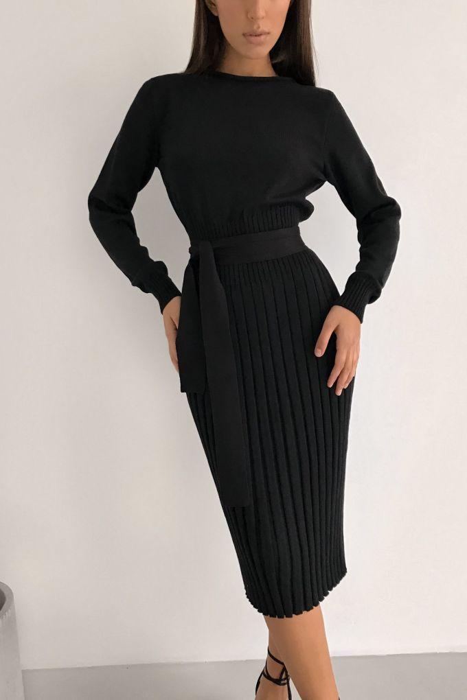 Платье трикотажное черное - THE LACE