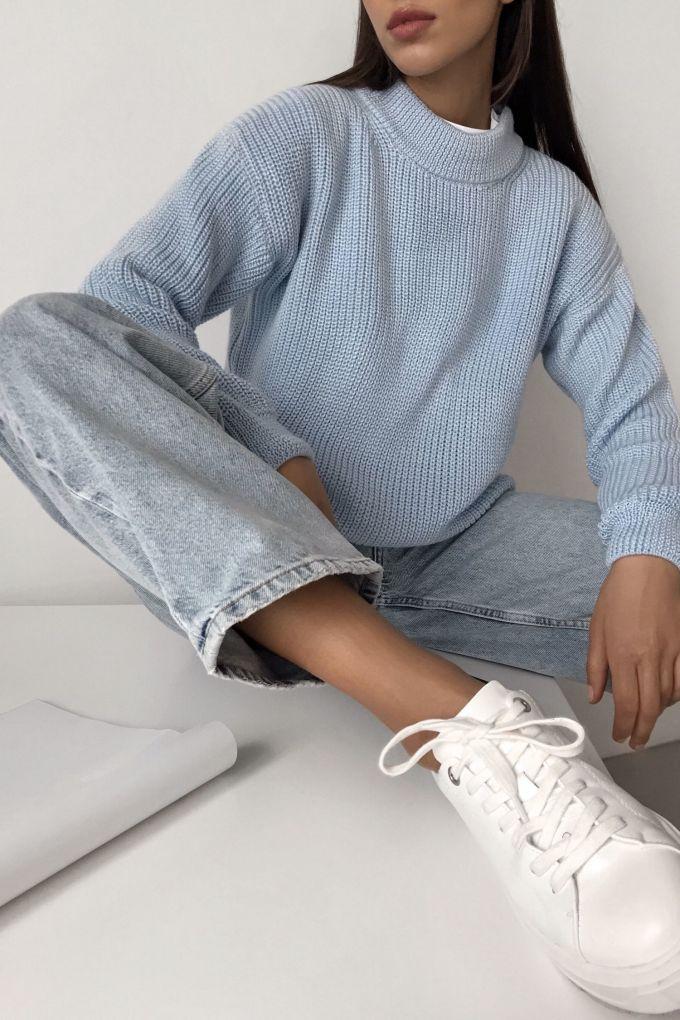 Шерстяной свитер голубой - THE LACE