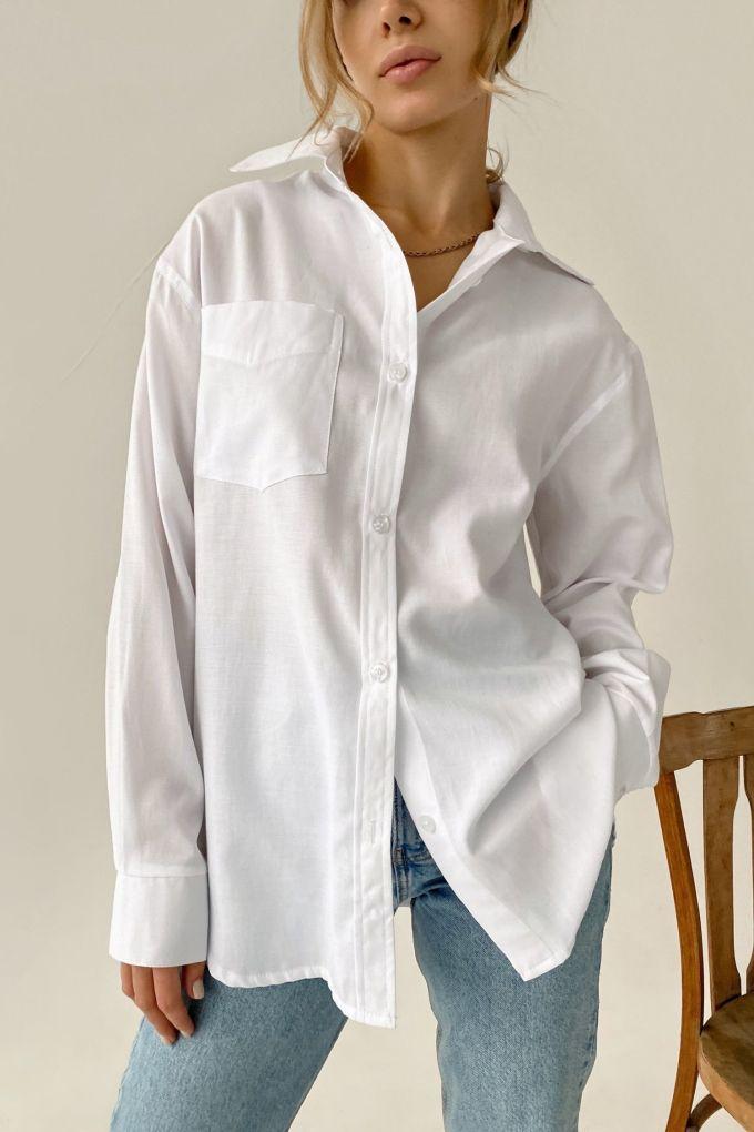 Рубашка оверсайз с накладным карманом белая - THE LACE