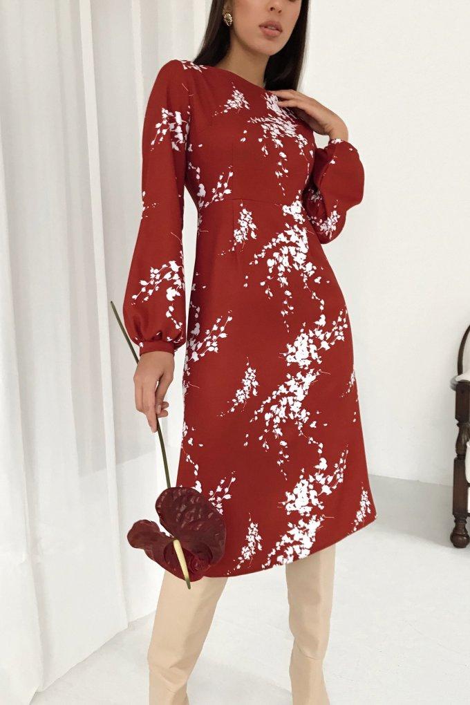 Платье миди терракотовое Mystery flowers - THE LACE