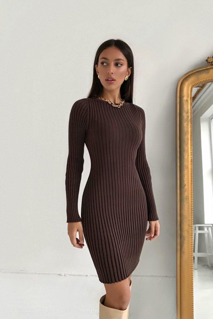 Трикотажное платье мини шоколадное - THE LACE