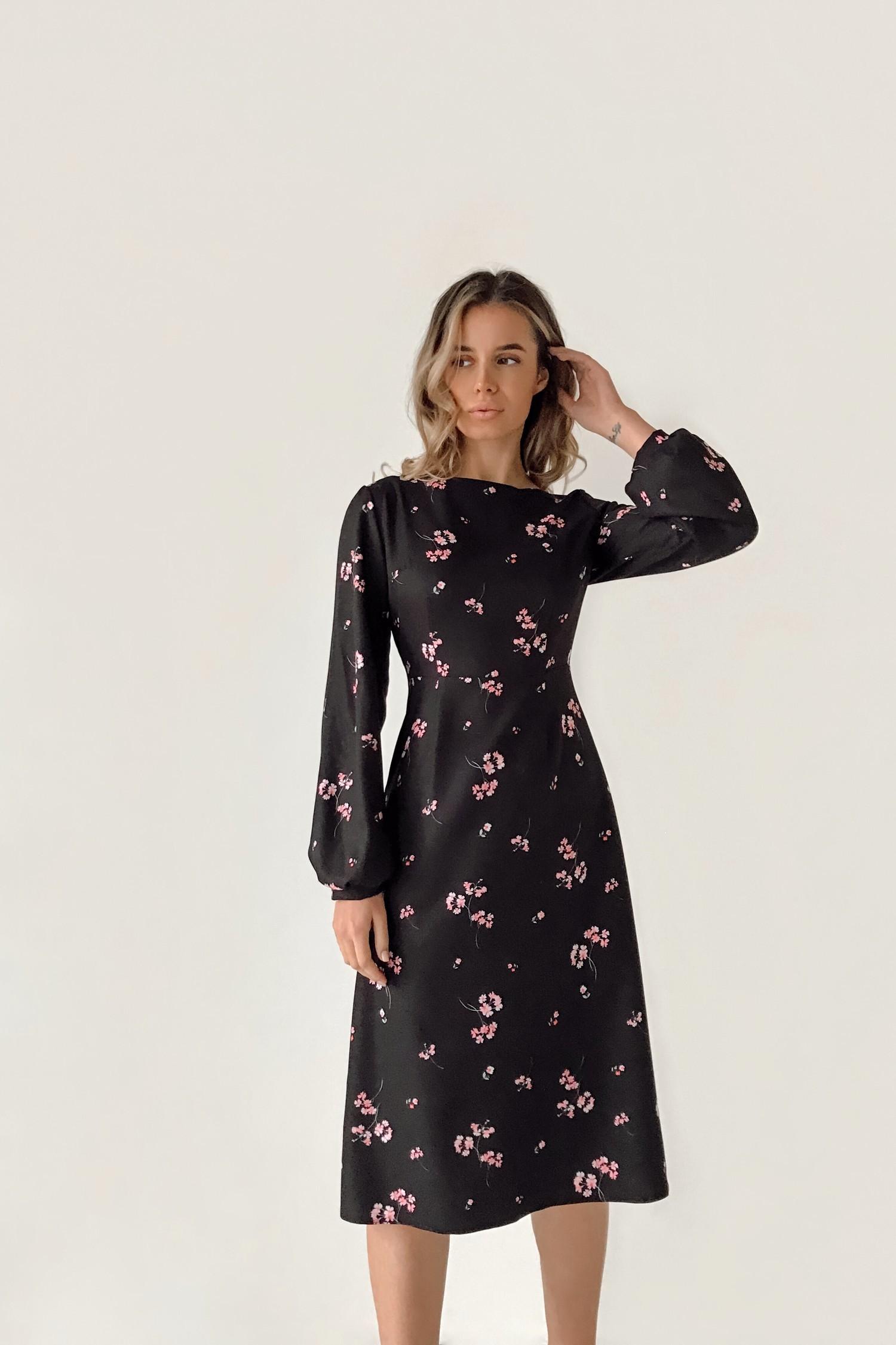 Сукня міді чорні Рожеві квіти - THE LACE