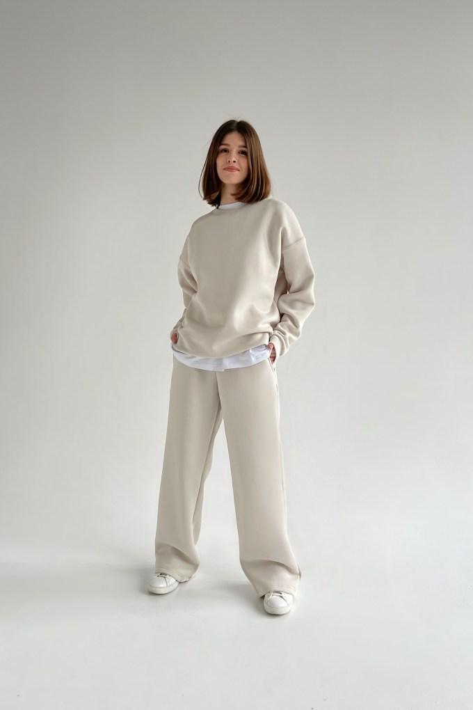 Костюм с брюками прямого кроя и свитшотом milk - THE LACE