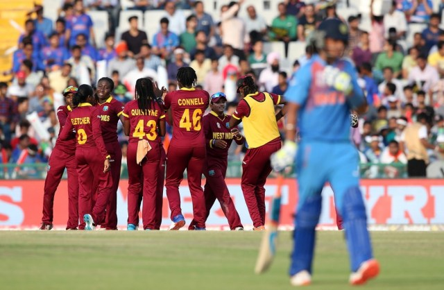 """MOHALI, INDIA - MARCH 27: West Indies players celebrate a wicket during the Women's ICC World Twenty20 India 2016 match between West Indies and India at IS Bindra Stadium on March 27, 2016 in Mohali, India. (Photo by Jan Kruger-IDI/IDI via Getty Images)"""