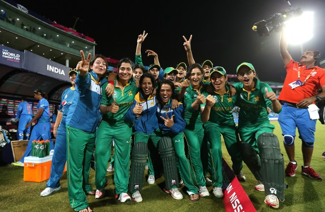 """DELHI, INDIA - MARCH 19: The Pakistan team celebrates victory on the Duckworth Lewis method during the Women's ICC World Twenty20 India 2016 match between India and Pakistan at Feroz Shah Kotla Ground on March 19, 2016 in Delhi, India. (Photo by Jan Kruger-IDI/IDI via Getty Images)"""