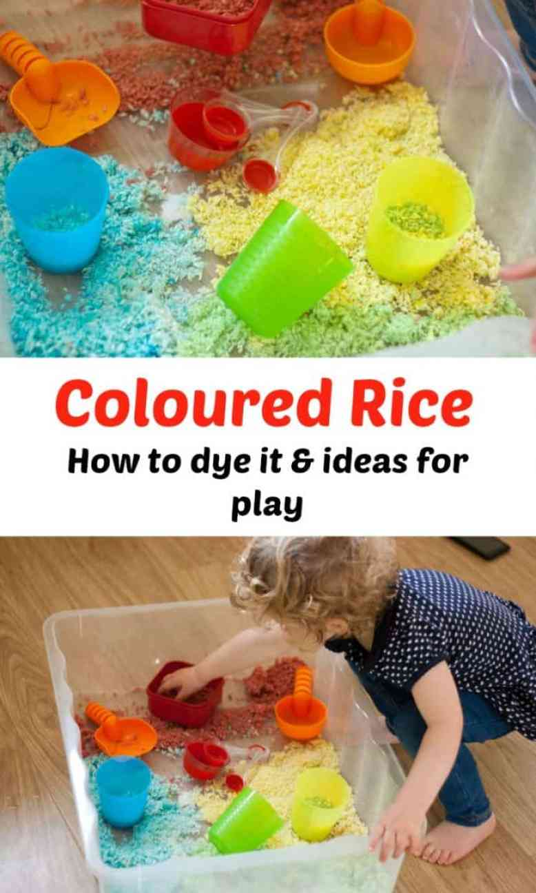 coloured rice sensory play