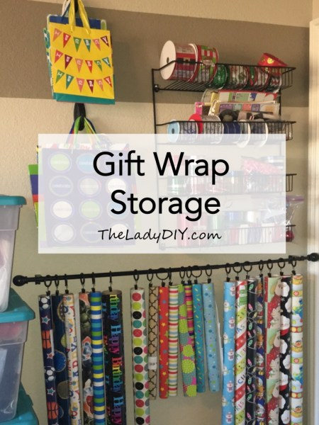 Easy, DIY gift wrap storage solution.
