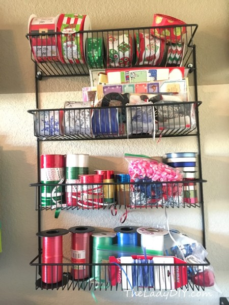 Use an inexpensive wire shelf as part of a simple, DIY gift wrap storage solution.