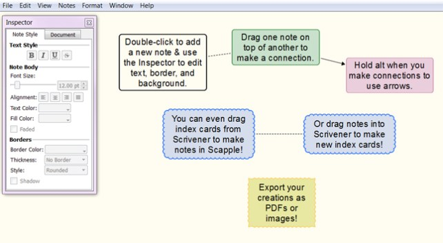 A quick visual of the basic Scapple functions.