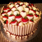 Strawberry and white chocolate vanilla sponge cake