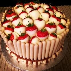 Strawberry and white chocolate vanilla sponge cake