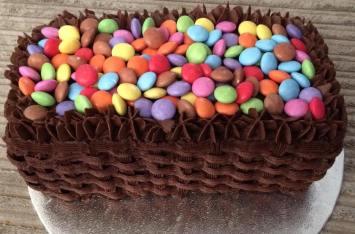 Smarties cake with hidden surprise