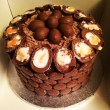 Cadbury cake with vanilla sponge and chocolate fudge frosting