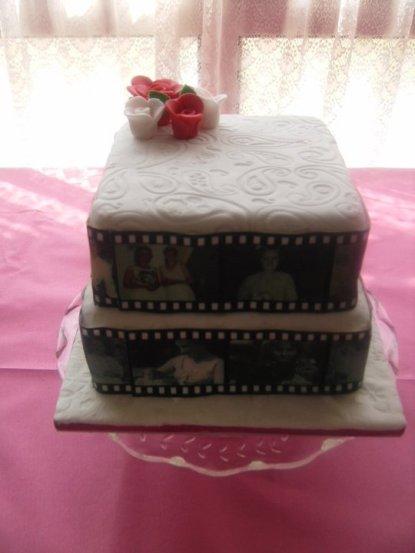 Two tier madeira celebration cake