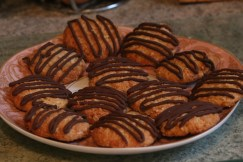 Coconut and Chocolate Oaty Biscuits