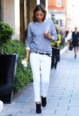 White denim with black booties