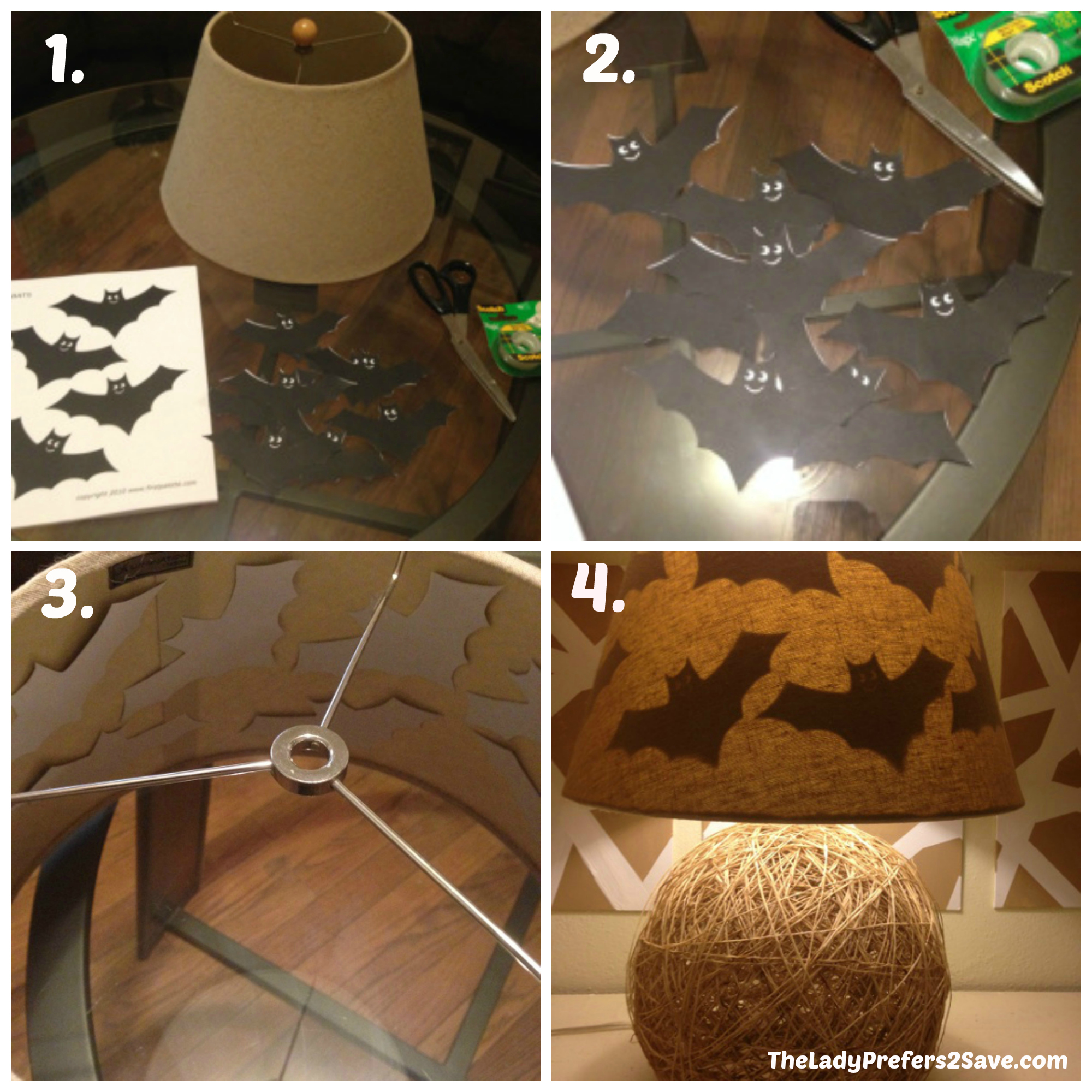 diy halloween lamp shade silhouettes!