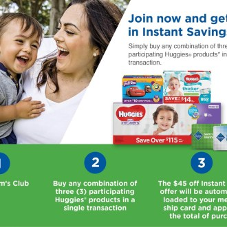 Instant Savings with Sam's Club and Huggies!