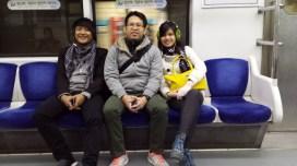 Riding a subway train to Nami Island!