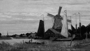 Monet Windmill at Zaandm 1871 greyscale
