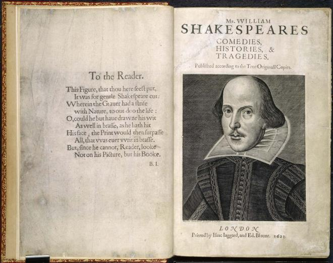 Double page image of the First Folio of Shakespeare's plays, with engraving of William Shakespeare.