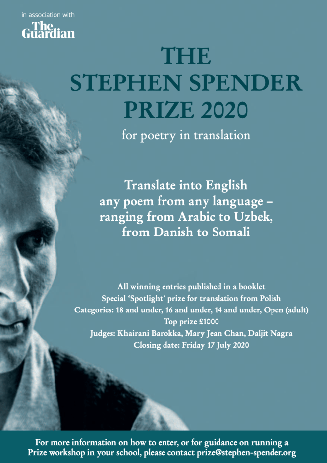 Stephen Spender Prize poster for poetry in translation
