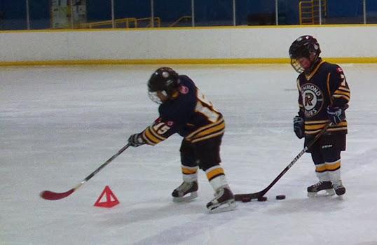 Developing puck control at the Richmond Minor Hockey Association.   Photo by Nikki Blackburn