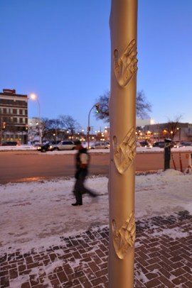 YOU YOU + YOU public art in Winnipeg. Your touch invokes music and light. | Photo courtesy of Metz&Chew