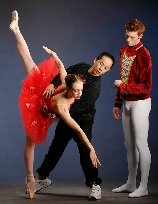 Coastal City Ballet's artistic director Li Yaming with the company's dancers.