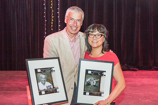 Mina Shum (with Claude Joli Coeur) accepts the Spotlight Award.| Photo courtesy of NFB (National Film Board).