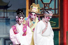 "Rosa Cheng (left), Du Quan (middle), Wai Ling Ho (right) during ""The Wedding,"" the second act of the opera."
