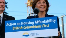 Premier Christy Clark shows off her new slogan. | Photo corutesy of the Province of B.C.Photo courtesy of the Province of B.C.