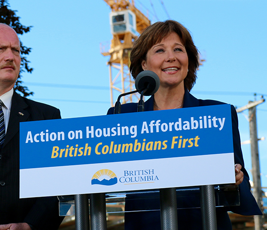 Premier Christy Clark shows off her new slogan. | Photo courtesy of the Province of B.C.Photo courtesy of the Province of B.C.