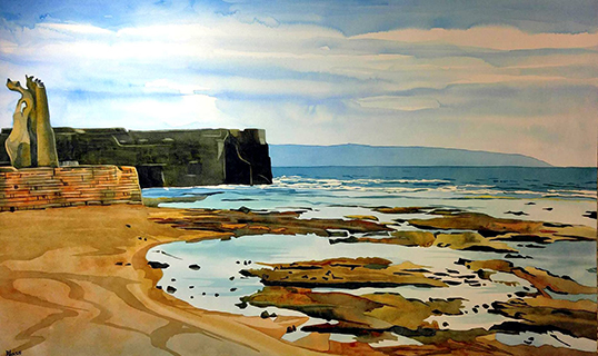 Akko Beach (Echo Beach), watercolour. | Photo courtesy of Sandy Blass