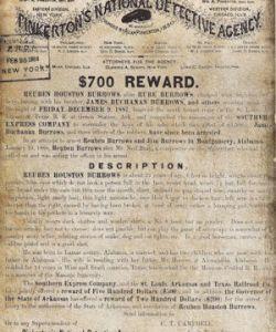 Pinkerton Circular for Reuben Burrows