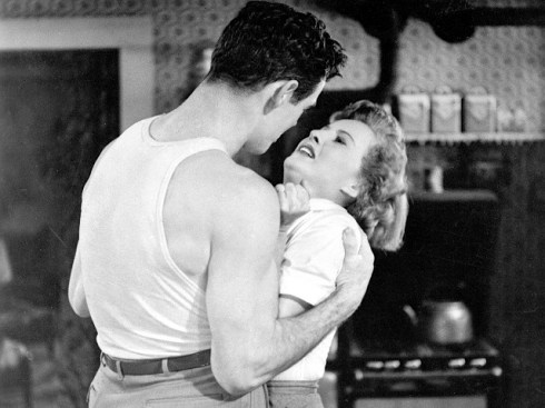 Robert Ryan (left) and Barbara Stanwyck (right) in Fritz Lang's CLASH BY NIGHT (1952). Courtesy Photofest. Playing 8/19.