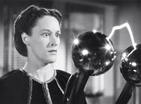 Anne Revere in Boris Karloff's lab where he communicates with the dead