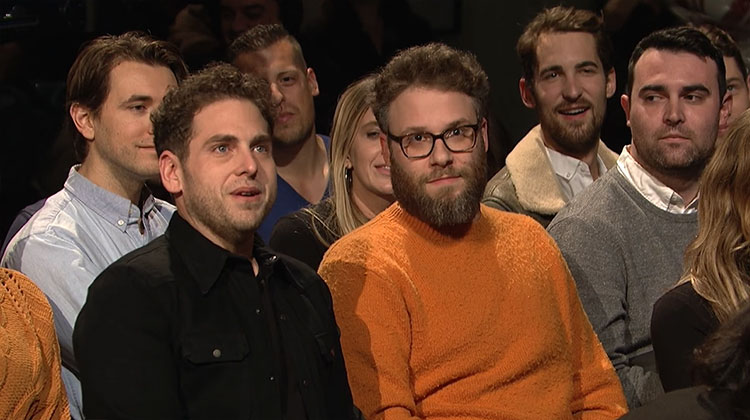 "Watch Seth Rogen and Jonah Hill crash James Franco's ""Saturday Night Live"" monologue"