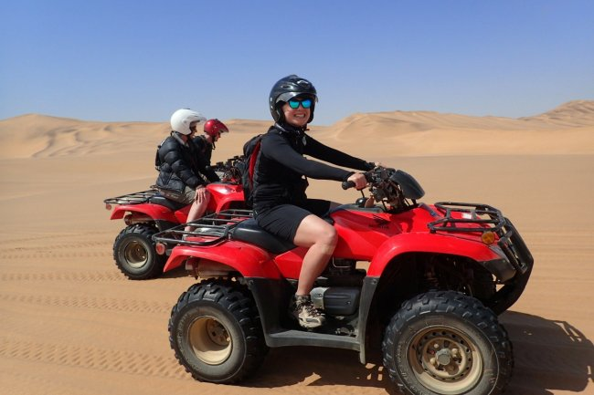 Quad biking the sand dunes at Dorob National Park just outside Swakopmund