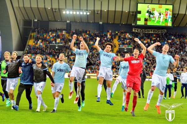 Lazio celebrates victory over Udinese this past weekend