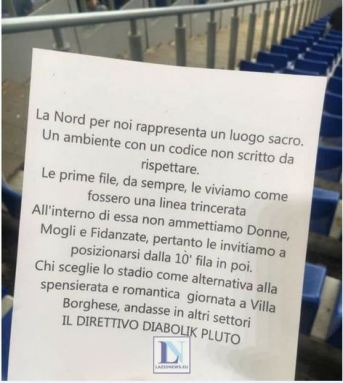 The flyer that was handed out at the Stadio Olimpico, Source: LazioNews