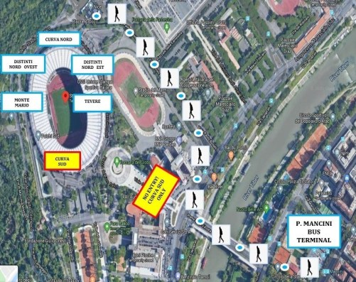 Piazza Mancini Bus Terminal to Stadio Olimpico